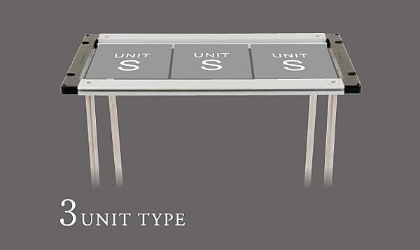 可安裝爐具與桌板等設備。框架尺寸為容納3單元設備的標準款。