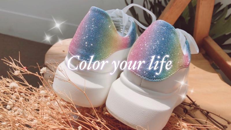 撞色真皮空氣小白鞋 彩虹糖│amai女鞋