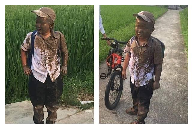▲有網友分享小男孩慘摔田裡,一秒變泥人的照片,讓大家笑翻。(圖/翻攝自爆廢公社)