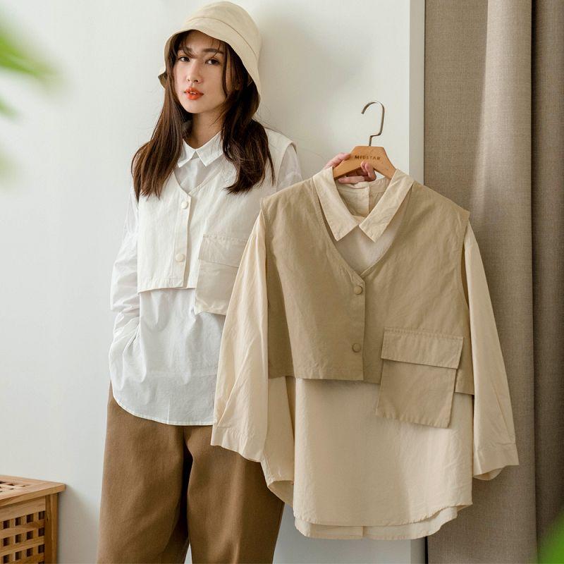 ★85折★兩件式!大口袋排釦背心+棉麻襯衫(共3色)0302 預購【NJ0521】