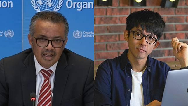▲譚德塞(左圖)指控台灣歧視有色人種,阿滴傻眼反嗆。(圖/WHO直播截圖、阿滴臉書)