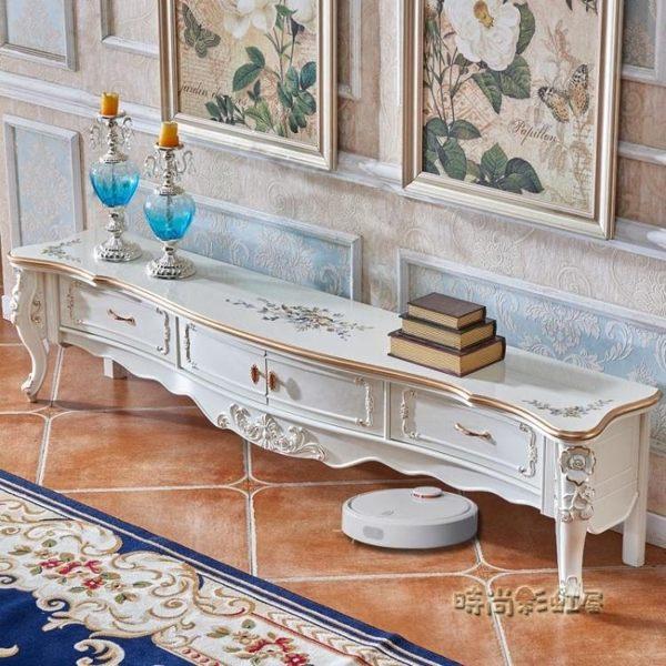 歐式電視櫃茶幾組合奢華高款客廳家具臥室地櫃北歐簡約描金珠光白MBS「時尚彩虹屋」