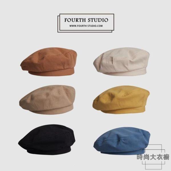 夏季薄款透氣貝雷帽女生韓版純色百搭可愛畫家帽子ins風日系軍帽