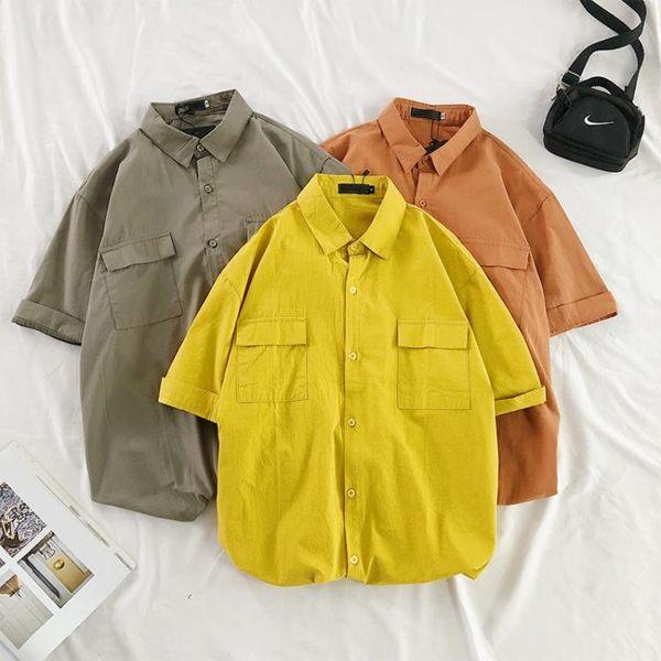 夏季日系半袖襯衫男潮流純色工裝短袖襯衣寬鬆休閑百搭五分袖上衣 快意購物網