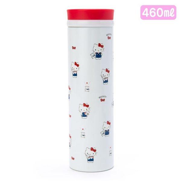 〔小禮堂〕Hello Kitty 旋轉蓋不鏽鋼保溫瓶《白紅.抱小熊》460ml.水壺.水瓶.隨手瓶 4901610-63882