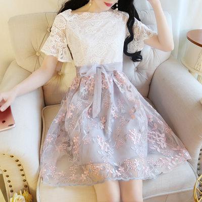 洋裝 韓版 婚禮小禮服 短袖蕾絲歐根紗連身裙五分袖短袖洋裝858#T- CF1-23韓依戀