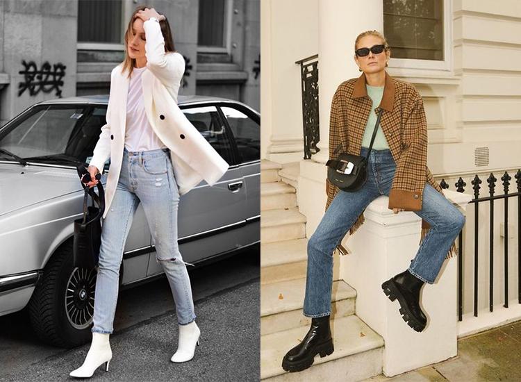 短靴穿搭 春季 牛仔褲穿搭 短靴女品牌