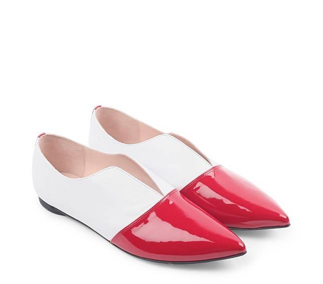Louis紅白拼色尖頭鞋(互聯網)