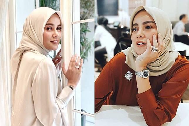 Unggah foto bareng Ummi Pipik, penampilan Olla Ramlan dengan hijab dan midi skirt sukses jadi sorotan