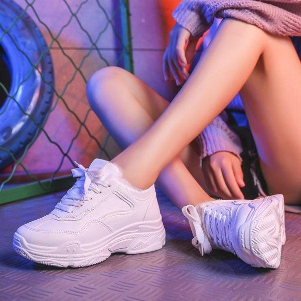 現貨-厚底鞋白色運動鞋女新款秋冬季韓版ulzzang原宿百搭厚底老爹鞋【5-21】