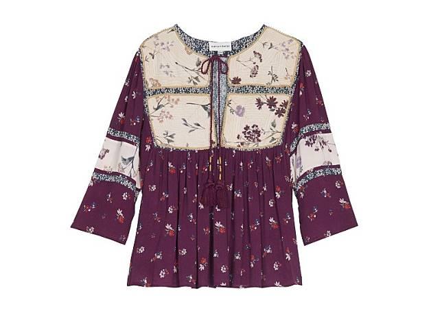 Antik Batik酒紅色拼白色花卉圖案上衣(互聯網)