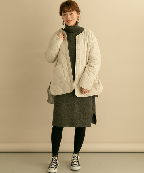 URBAN RESEARCH 高領針織連身裙:外搭鋪棉夾克