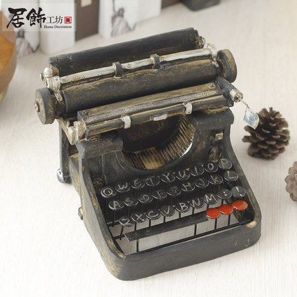 複古打字機 樹脂禮品擺件(黑色)