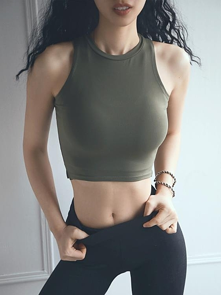 運動短款女背心夏季露臍緊身彈力速干顯瘦健身瑜伽罩衫上衣T恤tee 瑪麗蘇