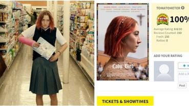 影史上僅有 3 部!《Lady Bird》獲「年度最佳」影片 並列《玩具總動員》創爛番茄 100 % 好評!