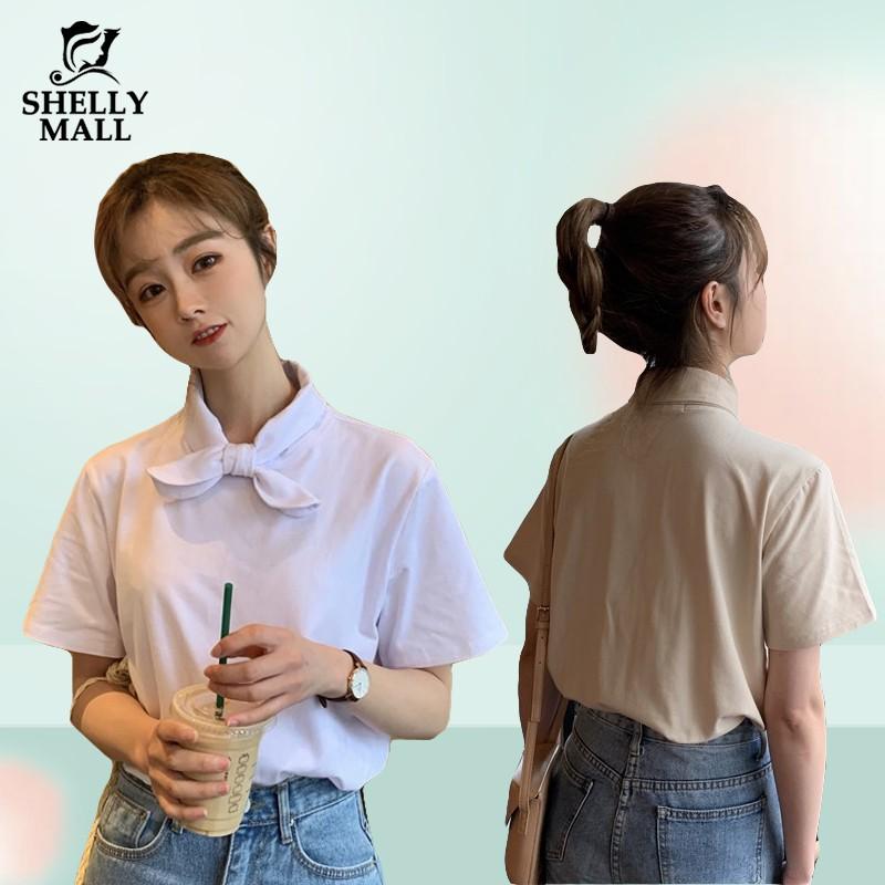 [優質現貨] 韓版日系蝴蝶結領口 短袖T恤 純色短袖 四色可選 可愛風 寬鬆 休閒 少女T恤 女生衣著 希希家