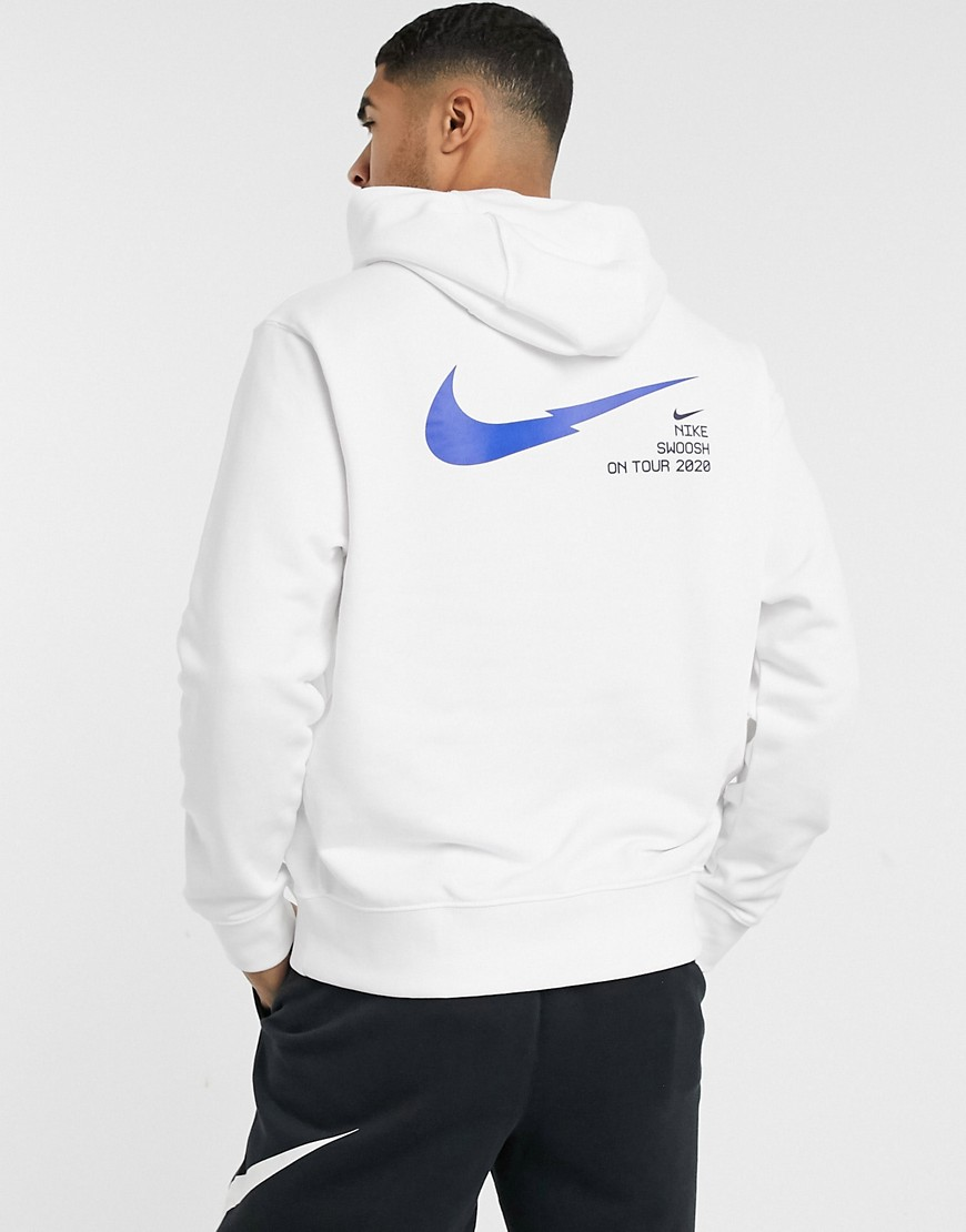 Hoodie by Nike Throw on and go Drawstring hood Overhead design Swoosh logo print to chest and back P