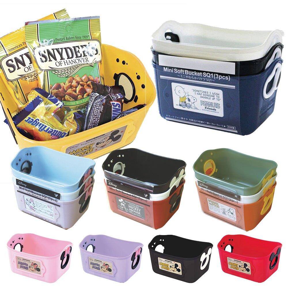 置物收納-日本製錦化成Disney 迪士尼 軟式收納籃 置物籃 塑膠籃 置物箱 玩具籃 500ML