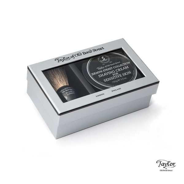 Taylor of Old Bond Street Pure Badger & Jermyn Street Gift Box傑明紳士敏感肌禮盒 精美盒裝收納刮鬍膏及獾毛鬍刷 送禮自用皆適合 傑明紳士(