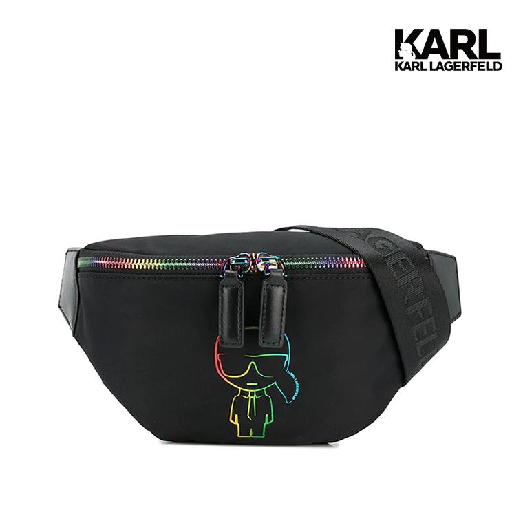 karl lagerfeld的黑色k / pride bumbag帶有彩色印花,肩帶,頂部拉鍊和一個主要內部隔層。