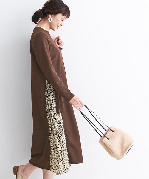 豹紋拼布連身裙
