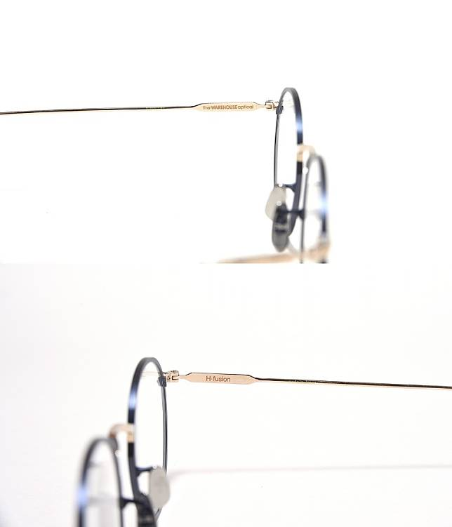 左右鏡臂內側分別印上「the WAREHOUSE optical」及「H-fusion」字樣。(互聯網)