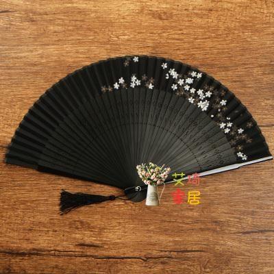 扇子 復古扇子折扇中國風復古風精致鏤空檀香竹裝飾小夏季隨身迷你舞蹈林扇 3色