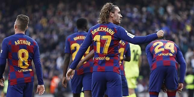 Antoine Griezmann merayakan golnya ke gawang Getafe, Sabtu (15/2/2020) (c) AP Photo
