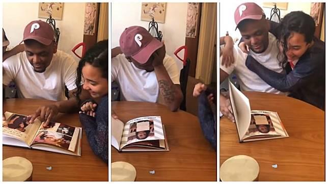美國一名少女製作了一本相簿給養父當作父親節禮物,對方看了當場感動到哭了。(圖/翻攝自YouTube)