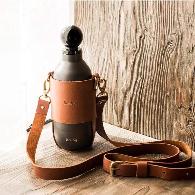 【預購】皮革真空不鏽鋼保溫瓶 - 斜背護套款 (3色) 白