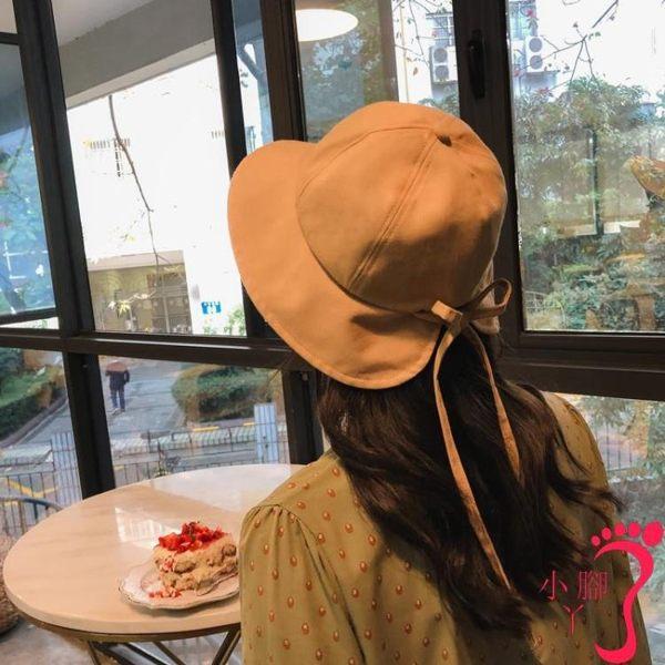 漁夫帽 漁夫帽女韓版甜美軟妹網紅同款盆帽夏天棉麻蝴蝶結遮陽帽百搭帽子