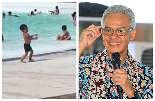 Ganjar Pranowo terpikat dengan aksi bocah joget centil di kolam renang