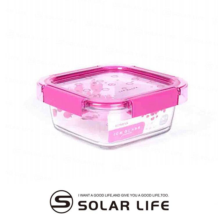 韓國KOMAX-Ice Glass冰鑽方型玻璃保鮮盒760ml-梅果粉