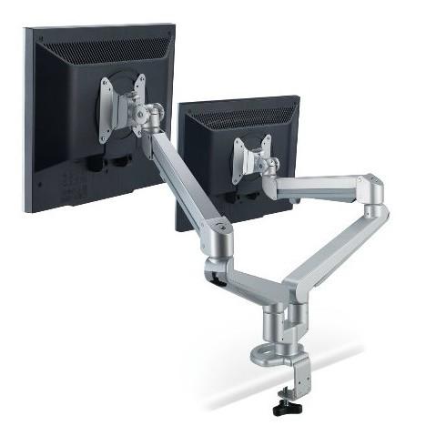 (雙螢幕)氣壓式無段定位螢幕可左右180度,旋轉360度伸降高度:200mm - 500mm旋臂長:各48公分承載重量:各2-8公斤適用尺吋:15吋-24吋材質:鋁合金適用孔位:75*75,100*1