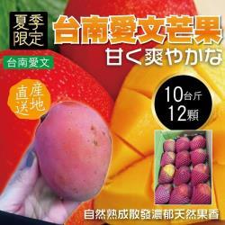 果物樂園-台南嚴選巨無霸愛文芒果原箱(12入/約10斤±10%含箱重)