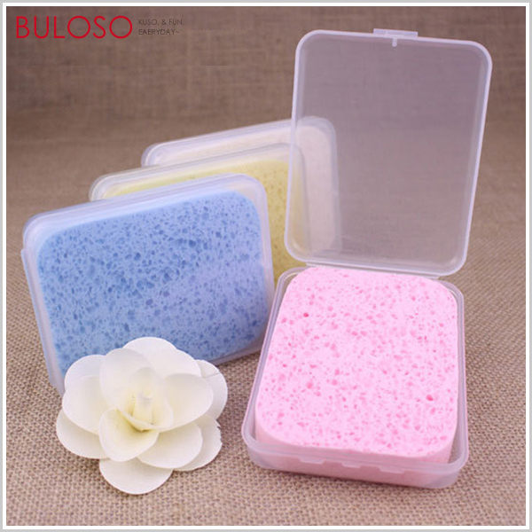 《不囉唆》天然木漿加厚潔面海綿(附收納盒) 洗臉海綿/壓縮海綿/清潔海綿 (不挑款/色)【A424793】