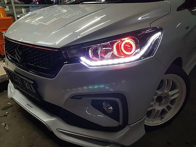 Variasi Lampu All New Ertiga Sport dengan LED DRL dan angel eyes