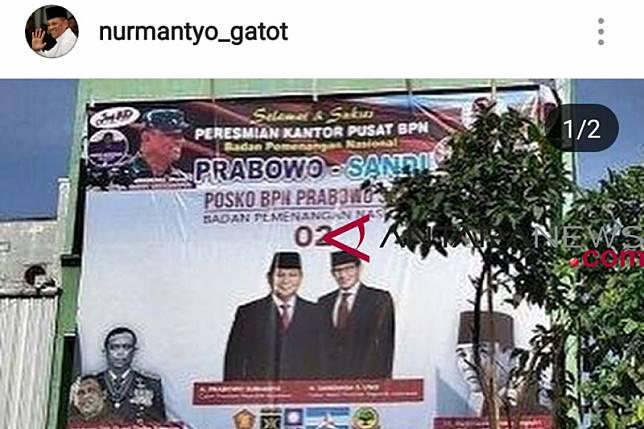 Gatot Nurmantyo minta fotonya diturunkan dari baliho Prabowo-Sandiaga
