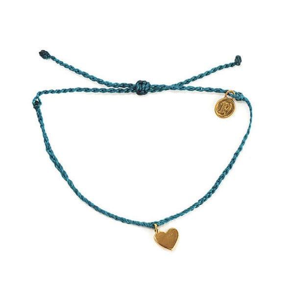 PuraVida美國手工GOLD BITTY HEART金色心型 小魅力系列 地中海綠蠟線手環