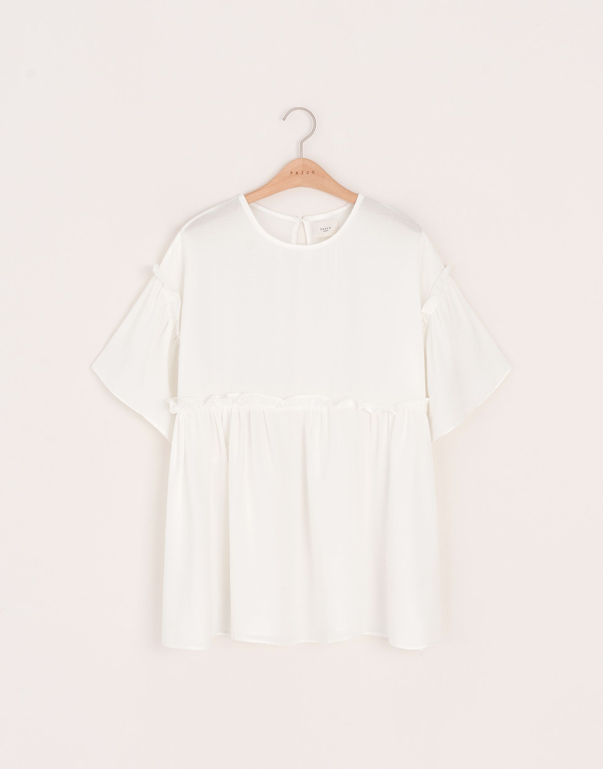 質感砰砰手感布料/腰部與袖子荷葉造型/後開水滴洞/淺色建議著內搭/無口袋