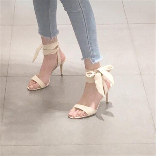 高跟涼鞋 女細跟夏季綁帶女仙女風蝴蝶結露趾一字帶-炫科技