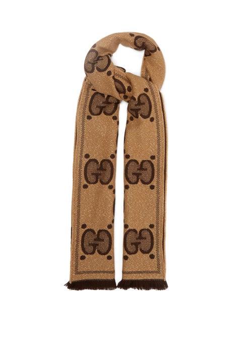 Gucci - GG Logo-jacquard Wool-blend Scarf - Womens - Brown Multi