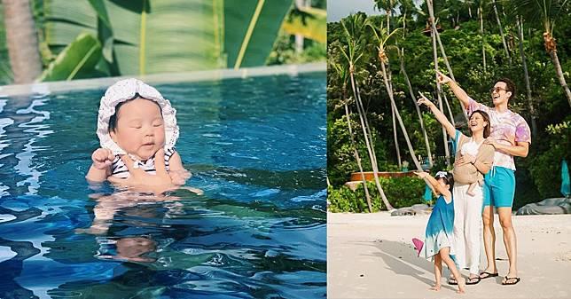น้องเป่าเป้ย์ ลูกสาวคนที่ 2 ของ บี้ – กุ๊บกิ๊บ ว่ายน้ำครั้งแรก บอกเลยน่ารักมาก!