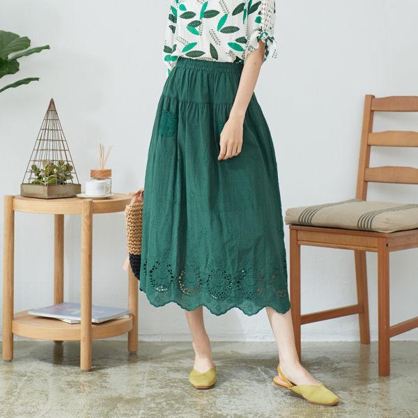 【慢。生活】同色刺繡花邊長裙 60305 FREE綠色