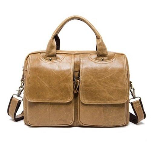 手提包真皮公事包-牛皮復古大容量肩背男包包4色73lo5【米蘭精品】