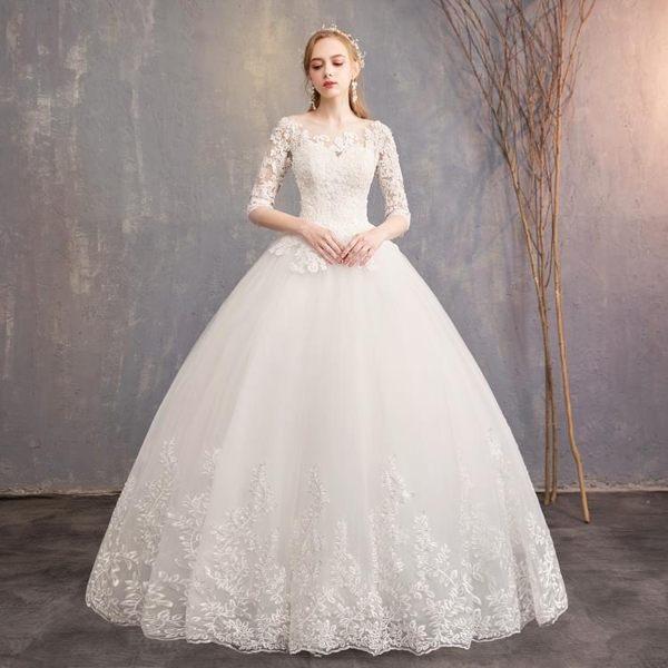 婚禮洋裝 婚紗禮服 現貨批發一字肩顯瘦簡約中袖蕾絲新娘結婚齊地輕婚紗D30 BB奇趣屋