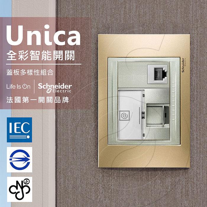 法國Schneider Unica Top埋入式資訊網路/電話插座金屬銅外框