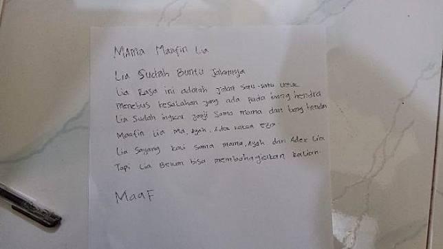 Dari foto isi surat yang beredar bertuliskan kata-kata yang diduga milik Lia Yulrifa dan ditulis oleh korban sebagai surat terakhirnya. (Foto Beredar di Group WhatsApp/Serambinews.com)