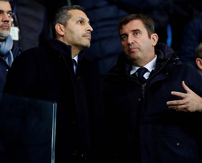 Manchester City Chairman Khaldoon Al Mubarak (left) and Chief Executive Ferran Soriano in the stands.