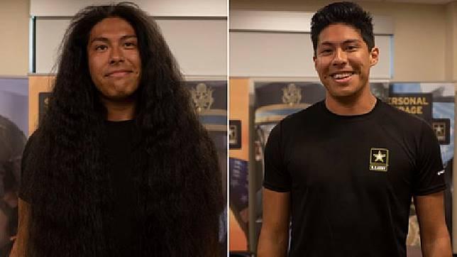 Reynaldo Arroyo rela memangkas rambut yang dipanjangi selama 15 tahun demi masuk tentara. Sumber: CNN.com